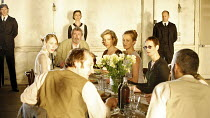 THE SEAGULL   by Chekhov   in a new version by Martin Crimp   director: Katie Mitchell,seated at table, clockwise from front left: Michael Gould (Shamraev), Hattie Morahan (Nina), Gawn Grainger (Sorin...