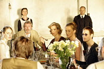 THE SEAGULL   by Chekhov   in a new version by Martin Crimp   director: Katie Mitchell,seated at table, l-r: Hattie Morahan (Nina), Gawn Grainger (Sorin), Juliet Stevenson (Arkadina)Liz Kettle (Polina...