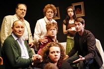SIT AND SHIVER   written & directed by Steven Berkoff,l-r: (front) Linal Haft (Lionel), Saul Reichlin (Morris), (centre front) Catherine Bailey (Shirly), (centre middle) Sue Kelvin (Debby), (centre re...