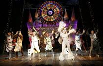 Monty Python^s SPAMALOT   book & lyrics: Eric Idle   music: John Du Prez & Eric Idle   director: Mike Nichols,front centre: Tim Curry (King Arthur), Hannah Waddingham (The Lady of the Lake),Palace The...