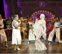 Monty Python^s SPAMALOT   ,book & lyrics: Eric Idle   music: John Du Prez & Eric Idle   director: Mike Nichols,Tim Curry (King Arthur), Hannah Waddingham (The Lady of the Lake),Palace Theatre, London...