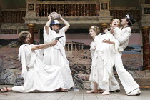 'THE STORM' (Peter Oswald, after Plautus - 'Master of Play'/director: Tim Carroll),l-r: Alex Hassell (Plesidippus), Mark Rylance (Daemones), Jodie Whittaker (Ampelisca), Emma Lowndes (Palaestra), Edwa...