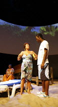 SUGAR MUMMIES   by Tanika Gupta   director: Indhu Rubasingham,Lynda Bellingham (Maggie), Jason Frederick (Antonio),Jerwood Theatre Downstairs / Royal Court Theatre, London SW1  10/08/2006,