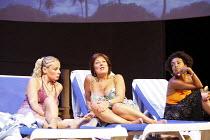SUGAR MUMMIES   by Tanika Gupta   director: Indhu Rubasingham,l-r: Heather Craney (Kitty), Lynda Bellingham (Maggie), Adjoa Andoh (Yolanda),Jerwood Theatre Downstairs / Royal Court Theatre, London SW1...