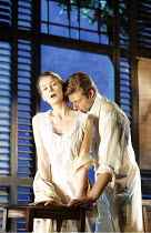 SUMMER AND SMOKE   by Tennessee Williams    director: Adrian Noble   Rosamund Pike (Alma Winemiller), Chris Carmack (John Buchanan Jr.),Apollo Theatre, London W1         18/10/2006,