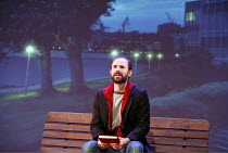 SUNDAY IN THE PARK WITH GEORGE   music & lyrics: Stephen Sondheim   book: James Lapine   director: Sam Buntrock,Daniel Webb (George) against backdrop of modern Paris,Wyndham^s Theatre, London WC2   23...