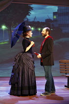 SUNDAY IN THE PARK WITH GEORGE   music & lyrics: Stephen Sondheim   book: James Lapine   director: Sam Buntrock,Jenna Russell (Dot), Daniel Evans (George) against backdrop of modern Paris,Wyndham^s Th...