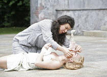 THE TAMING OF THE SHREW   by Shakespeare   director: Rachel Kavanaugh,II/i - (kneeling) Sirine Saba (Katherina), (lying down) Sheridan Smith (Bianca),Open Air Theatre / Regent^s Park, London NW1...