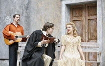 THE TAMING OF THE SHREW   by Shakespeare   director: Rachel Kavanaugh~III/i - l-r: James Wallace (Hortensio),Dominic Marsh (Lucentio), Sheridan Smith (Bianca)~Open Air Theatre / Regent^s Park, London...