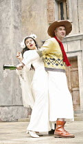 THE TAMING OF THE SHREW   by Shakespeare   director: Rachel Kavanaugh,III/ii - Sirine Saba (Katherina), John Hodgkinson (Petruchio),Open Air Theatre / Regent^s Park, London NW1           05/06/2006...