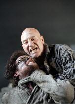 THE TEMPEST   by Shakespeare   director: Rupert Goold,I/ii - l-r: John Light (Caliban), Patrick Stewart (Prospero) ,part of RSC ^The Complete Works^ Festival - April 2006-March 2007,Royal Shakespeare...