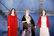 THREE SISTERS   by Chekhov   direction and set design: Krystian Lupa,final scene, facing the future together - l-r: Molly Ward (Masha), Kelly McAndrew (Olga), Sarah Grace Wilson (Irina),American Reper...