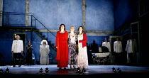 THREE SISTERS   by Chekhov   direction and set design: Krystian Lupa,final scene, facing the future together - centre l-r: Molly Ward (Masha), Kelly McAndrew (Olga), Sarah Grace Wilson (Irina),America...