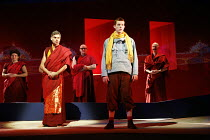 TINTIN   by Herg�   dramatised by Rufus Norris & David Greig   director: Rufus Norris,l-r: Mark Lockyer (Grand Abbot), Russell Tovey (Tintin)  ,The Young Vic / Barbican Theatre, London EC2     14/12/2...