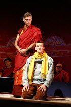 TINTIN   by Herg�   dramatised by Rufus Norris & David Greig   director: Rufus Norris,front: Russell Tovey (Tintin)   standing: Mark Lockyer (Grand Abbot),The Young Vic / Barbican Theatre, London EC2...