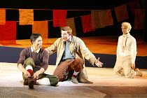 TINTIN   by Herg�   dramatised by Rufus Norris & David Greig   director: Rufus Norris,l-r: Tom Wu (Tharkey), Russell Tovey (Tintin), Simon Trinder (Snowy) ,The Young Vic / Barbican Theatre, London EC2...