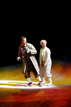 TINTIN   by Herg�   dramatised by Rufus Norris & David Greig   director: Rufus Norris,l-r: Russell Tovey (Tintin), Simon Trinder (Snowy)  ,The Young Vic / Barbican Theatre, London EC2     14/12/2005...