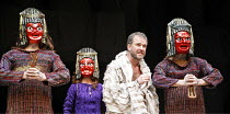 TITUS ANDRONICUS   by Shakespeare   director / ^Master of Play^: Lucy Bailey,V/ii - Richard Riddell (Chiron), Geraldine Alexander (Tamora), Douglas Hodge (Titus Andronicus). Sam Alexander (Demetrius),...