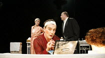 TONIGHT AT 8.30   by Noel Coward   director: Lucy Bailey,'Red Peppers' l-r: Josefina Gabrielle (Lilly Pepper), Alexander Hanson (George Pepper), Peter Moreton (Bert Bentley),Minerva Theatre / Chichest...