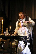 TOSCA   by Puccini   conductor: Antonio Pappano   director: Jonathan Kent,Act II: Angela Gheorghiu (Floria Tosca), Bryn Terfel (Baron Scarpia),The Royal Opera / Covent Garden   London WC2         13/0...