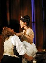 TOSCA   by Puccini   conductor: Antonio Pappano   director: Jonathan Kent,Act II - Tosca stabs Scarpia: Bryn Terfel (Baron Scarpia), Angela Gheorghiu (Floria Tosca),The Royal Opera / Covent Garden   L...