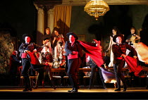 LA TRAVIATA   by Verdi   conductor: Jonathan Darlington   director: Conall Morrison,Act II sc.ii - the party: bullfighters,new production supported by Culture Ireland / English National Opera / London...