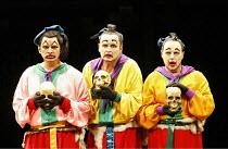 TURANDOT by Puccini - conductor: Stefan Soltesz  original director: Andrei Serban,l-r: Jorge Lagunes (Ping), Robin Leggate (Pang), Alasdair Elliott (Pong),The Royal Opera / Covent Garden   London WC2...