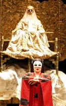 TURANDOT by Puccini - conductor: Stefan Soltesz  original director: Andrei Serban,Georgina Lukacs (Turandot), (rear) Francis Egerton (Emperor Altoum),The Royal Opera / Covent Garden   London WC2...