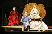 TURANDOT by Puccini - conductor: Stefan Soltesz  original director: Andrei Serban,l-r: Georgina Lukacs (Turandot), Ben Heppner (Calaf), (rear) Francis Egerton (Emperor Altoum),The Royal Opera / Covent...