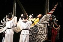 TURANDOT by Puccini - conductor: Stefan Soltesz  original director: Andrei Serban,Liu^s body is removed: Elena Kelessidi (Liu, in yellow)   ,The Royal Opera / Covent Garden   London WC2        07/07/2...