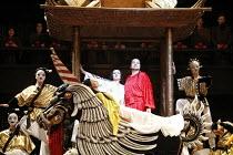 TURANDOT by Puccini - conductor: Stefan Soltesz  original director: Andrei Serban,Liu^s cortege - centre front : Elena Kelessidi (Liu)   rear:  Georgina Lukacs (Turandot), Ben Heppner (Calaf),The Roya...