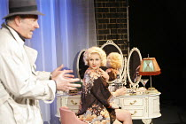 TWO-WAY MIRROR   by Arthur Miller   director: Mike Miller,Act 1 - 'Some Kind Of Love Story' - l-r: Jay Benedict (Tom O'Toole), Abi Titmuss (Angie),The Courtyard at Covent Garden / Theatre Museum, Lond...