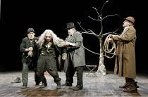 'WAITING FOR GODOT' (Beckett - director: Peter Hall),l-r: Alan Dobie (Estragon), Richard Dormer (Lucky), James Laurenson (Vladimir), Terence Rigby (Pozzo),Theatre Royal Bath             25/08/2005,