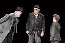 'WAITING FOR GODOT' (Beckett - director: Peter Hall),l-r: James Laurenson (Vladimir), Alan Dobie (Estragon), Jack Lawrence (Boy) ,Theatre Royal Bath             25/08/2005,
