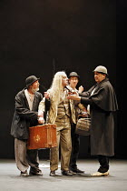 WAITING FOR GODOT   by Samuel Beckett   director: Walter D Asmus,l-r: Johnny Murphy (Estragon), Stephen Brennan (Lucky), Barry McGovern (Vladimir), Alan Stanford (Pozzo),Beckett Centenary Festival / B...
