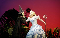 WICKED   music & lyrics: Stephen Schwartz    book: Winnie Holzman   based on the novel by Gregory Maguire   director: Joe Mantello,l-r: Idina Menzel (Elphaba), Helen Dallimore (Glinda),Apollo Victoria...