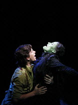 WICKED   music & lyrics: Stephen Schwartz    book: Winnie Holzman   ,based on the novel by Gregory Maguire   director: Joe Mantello,Adam Garcia (Fiyero), Idina Menzel (Elphaba),Apollo Victoria, London...