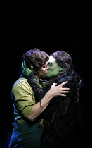 WICKED   music & lyrics: Stephen Schwartz    book: Winnie Holzman,based on the novel by Gregory Maguire   director: Joe Mantello,Adam Garcia (Fiyero), Idina Menzel (Elphaba),Apollo Victoria, London SW...