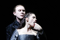 WOMEN BEWARE WOMEN   by Thomas Middleton   director: Laurence Boswell,Bianca removes the Duke^s ring with her mouth: Tim Pigott-Smith (Duke of Florence), Hayley Atwell (Bianca),Royal Shakespeare Compa...