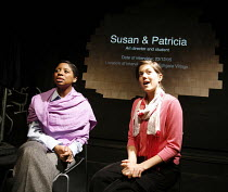 YESTERDAY WAS A WEIRD DAY   Reflections on July 7th 2005,l-r: Janette-Nicole Nzekwe (Patricia/rescuer), Charity Wakefield (Susan/survivor),look left look right / Battersea Arts Centre (BAC), London SW...