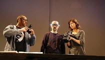 FAUSTUS   by Christopher Marlowe   adapted by Rupert Goold & Ben Power    director: Rupert Goold ~l-r: Jonjo O'Neill (Dinos Chapman), Stephen Noonan (Jake Chapman), Sophie Hunter (Helena)~in associati...
