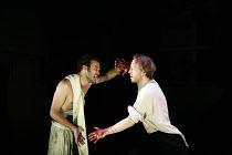 FAUSTUS   by Christopher Marlowe   adapted by Rupert Goold & Ben Power    director: Rupert Goold ~l-r: Jake Maskall (Mephistopheles), Scott Handy (Dr John Faustus)~in association with  Headlong Theatr...