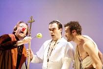 FAUSTUS   by Christopher Marlowe   adapted by Rupert Goold & Ben Power    director: Rupert Goold ~l-r: Scott Handy (Dr John Faustus), Jason Morell (The Pope), Jake Maskall (Mephistopheles)~in associat...