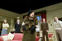 'AFTER THE DANCE' (Rattigan)~roaring drunk - centre: Joanna Scanlan (Julia Browne)~Oxford Stage Company / Salisbury Playhouse                 09/10/2002