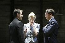 'AFTER MISS JULIE' (Patrick Marber, after Strinberg)~l-r: Michael Grandage (director), Kelly Reilly (Miss Julie), Richard Coyle (John)~Donmar Warehouse, London WC2         25/11/2003