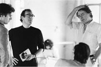 'THE COMMON PURSUIT' (Simon Gray),l-r: Nicholas Le Prevost, Harold Pinter (director), Simon Gray (author),Lyric Hammersmith, London W6  1984,