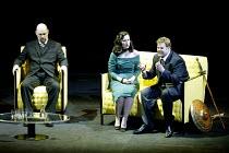 GOTTERDAMMERUNG (Wagner)~l-r: Mats Almgren (Hagen), Elaine McKrill (Gutrune), Graham Sanders (Siegfried)~Scottish Opera / Festival Theatre, Edinburgh                  05/04/2003