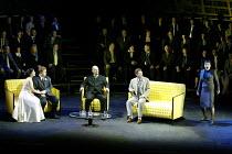 GOTTERDAMMERUNG by Wagner~l-r: Elaine McKrill (Gutrune), Graham Sanders (Siegfried), Mats Almgren (Hagen), Peter Savidge (Gunther), Elizabeth Byrne (Brunnhilde)~Scottish Opera / Festival Theatre, Edin...