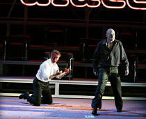 'HAMLET' (Shakespeare)   (director: Calixto Bieito) Hamlet kills Polonius with a bottle - l-r: Rupert Frazer (Polonius), George Anton (Hamlet) Birmingham Repertory Theatre & Edinburgh International...