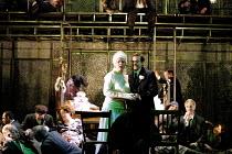 'LADY MACBETH OF MTSENSK' (Shostakovich)~at their wedding reception: Vivian Tierney (Katerina Ismailova), Robert Brubaker (Sergei)~English National Opera (ENO)/London Coliseum, London WC2  15/06/2001